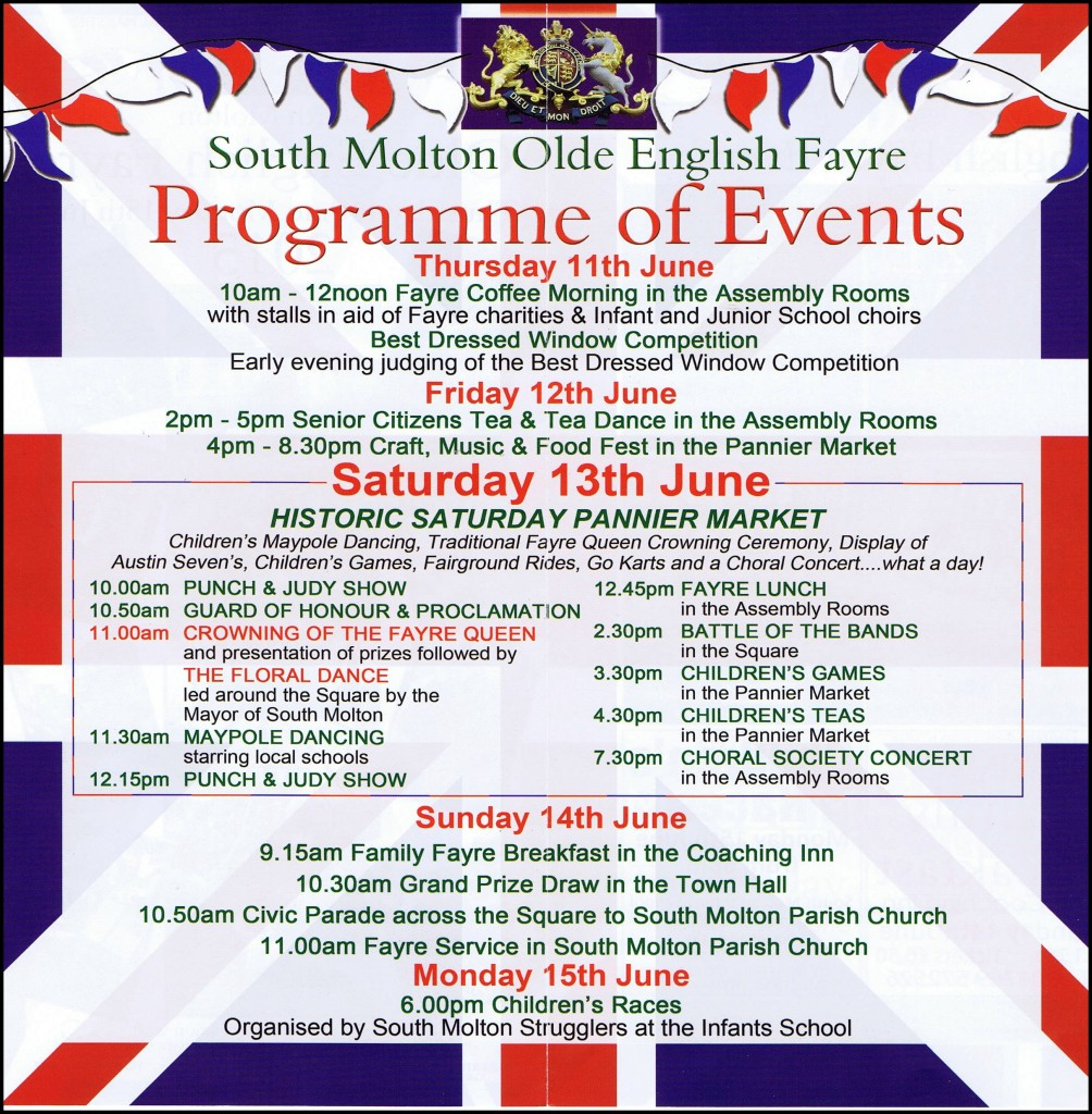 Olde English Fayre Timetable 2015