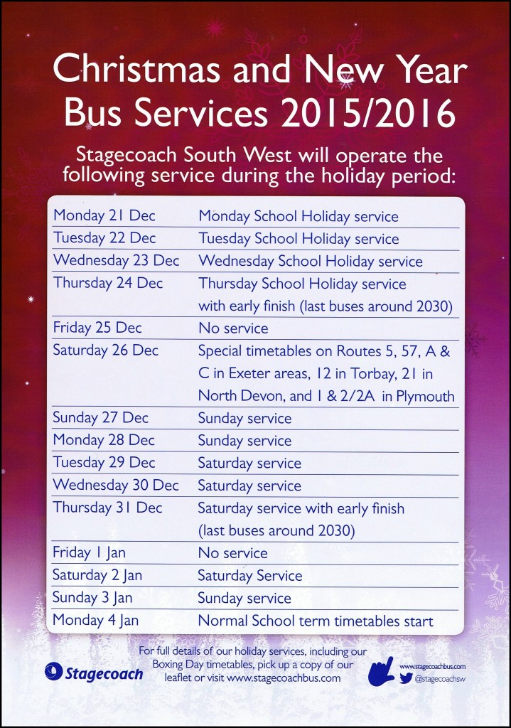 Bus Services Christmas 2015