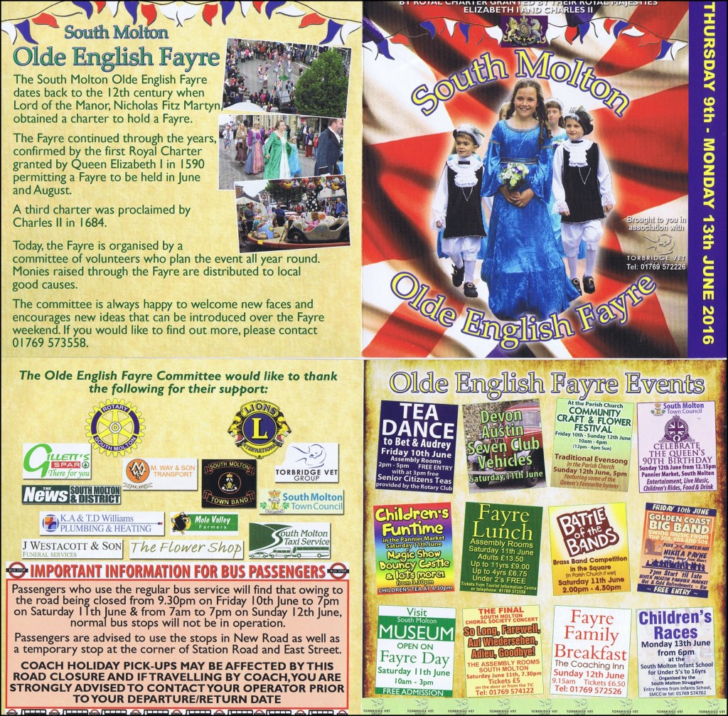 Olde English Fayre Programme 2016 - side one