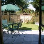 Through the patio door to Jacks Nest garden area
